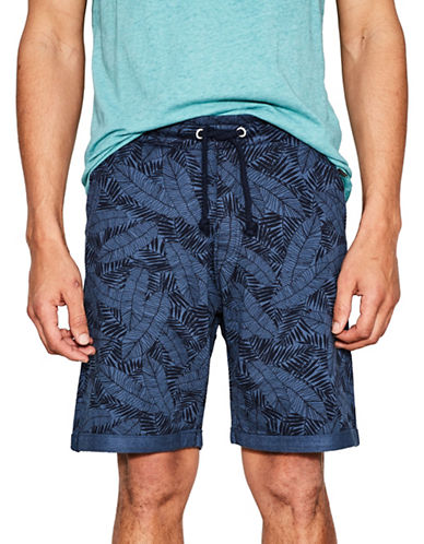 Esprit Knitted Bermuda Shorts-NAVY-Large
