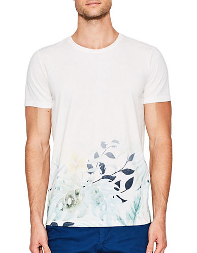 Esprit Leaf-Print Cotton Jersey T-Shirt-WHITE-X-Large