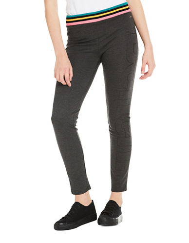 Bench Colourblock Waist Logo Leggings-GREY-Large