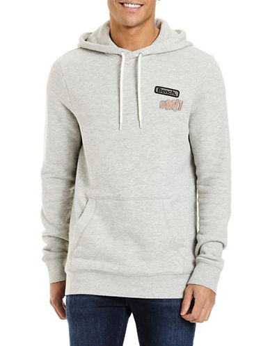 Bench Textured Cotton Hoodie-GREY-Large