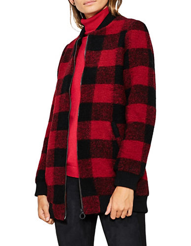 Esprit Buffalo Check Wool-Blend Long Bomber Jacket-RED-Small