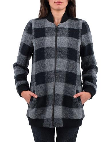 Esprit Buffalo Check Wool-Blend Long Bomber Jacket-GREY-Large