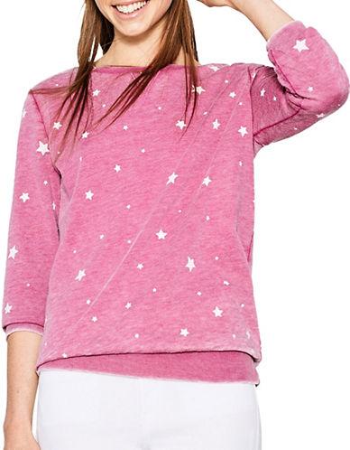 Esprit Washed Star Cotton Sweatshirt-PINK-X-Large