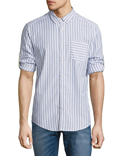 Esprit Roll-Tab Stripe Shirt-BLUE-X-Large