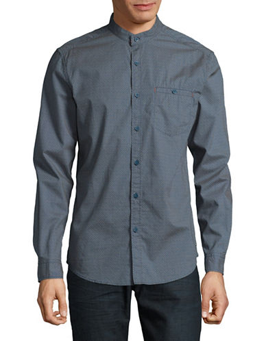 Esprit Mandarin Collar Cotton Casual Button-Down Shirt-BLUE-Large