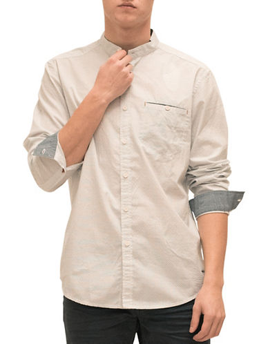 Esprit Mandarin Collar Cotton Casual Button-Down Shirt-WHITE-Medium