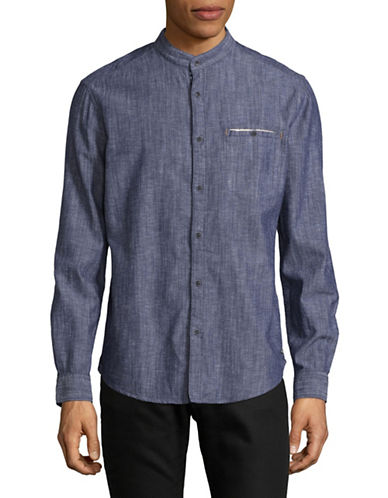Esprit Regular Fit Heathered Mandarin Collar Shirt-DARK BLUE-Small