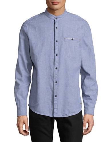 Esprit Regular Fit Heathered Mandarin Collar Shirt-BLUE-Small