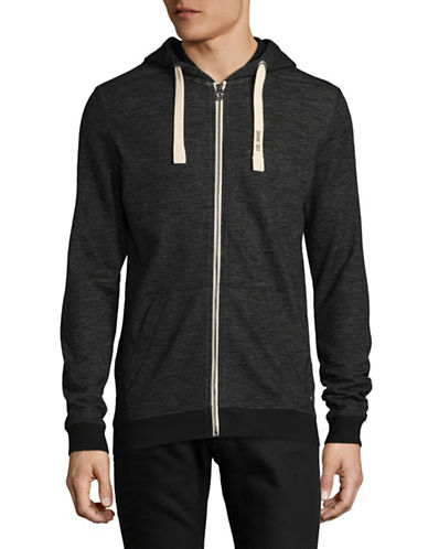 Esprit Kangaroo Cotton Sweatshirt Hoodie-BLACK-Large