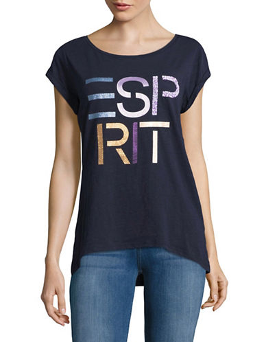 Esprit Logo Cotton Tee-NAVY-Large