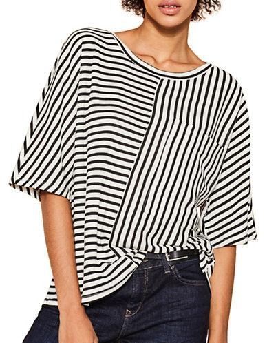 Esprit Directional Striped Knit Top-WHITE MULTI-Medium