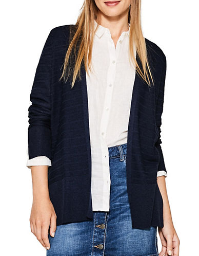 Esprit Ribbed Duster Cardigan-BLUE-Large