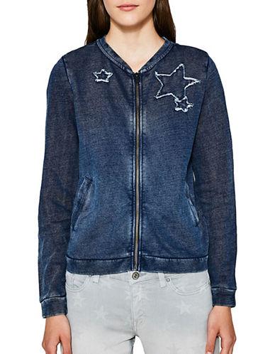 Esprit Washed Star Cotton Jacket-BLUE-X-Large