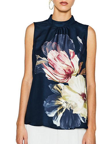 Esprit Printed Sleeveless Blouse-BLUE-36