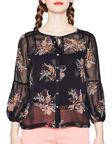 Esprit Floral Chiffon Blouse-BLACK MULTI-Small
