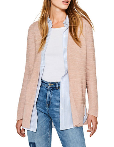 Esprit Ribbed Duster Cardigan-PINK-Large