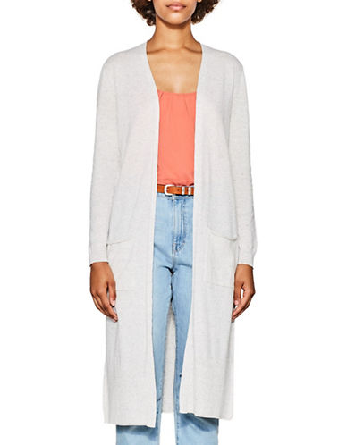 Esprit Long Marled Cardigan-WHITE-X-Large