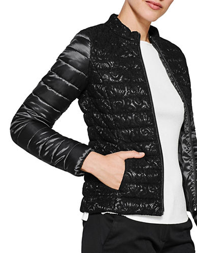 Esprit Lace Puffer Jacket-BLACK-X-Large