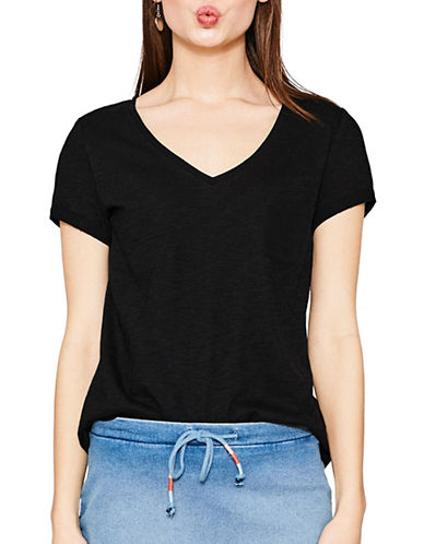 Esprit V-Neck Trimmed Pocket Tee-BLACK-Medium