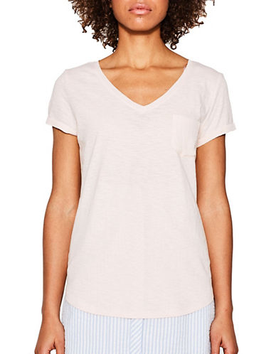 Esprit V-Neck Trimmed Pocket Tee-PINK-Medium