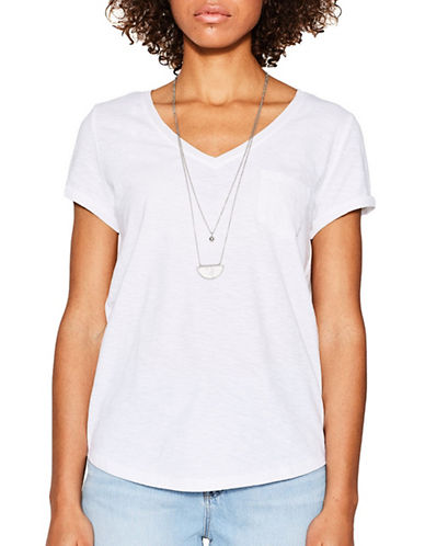 Esprit V-Neck Trimmed Pocket Tee-WHITE-Small