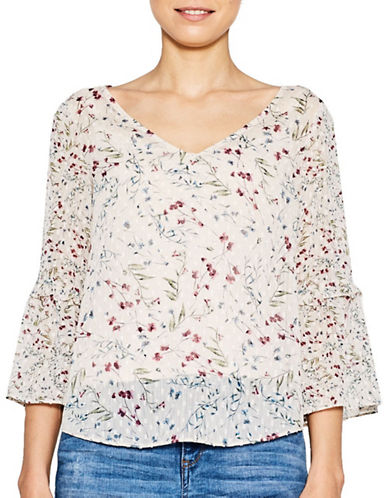 Esprit Floral V-Neck Romantic Blouse-PINK MULTI-40