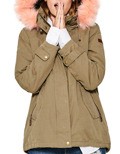 Esprit Faux Fur Hooded Anorak-GREEN-Large