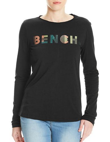 Bench Logo Print Long Sleeve Tee-BLACK-Medium