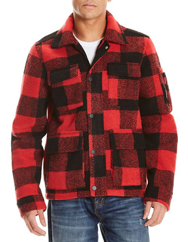 Bench Checked Field Jacket-RED-Medium