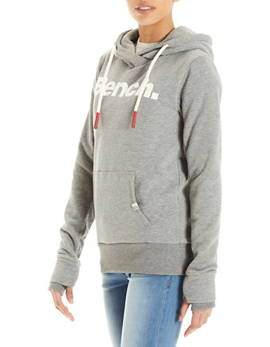 Bench Logo Crop Hoodie-GREY-Large