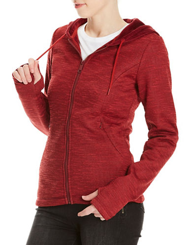 Bench Velour Hooded Zip-Up Sweater-RED-Small