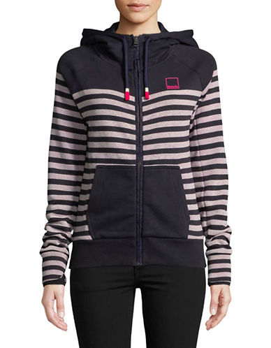Bench Heritage Zip Stripe Hoodie-NAVY-Small