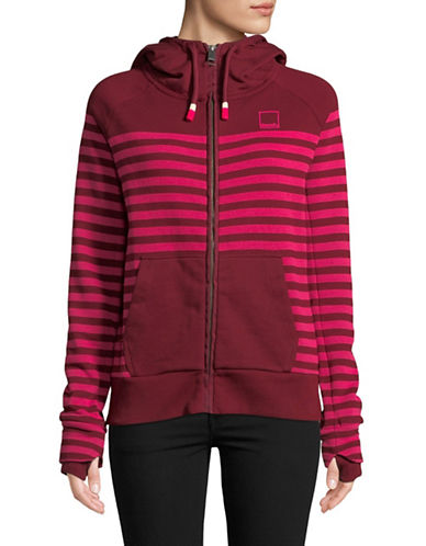 Bench Heritage Zip Stripe Hoodie-WINE-Large