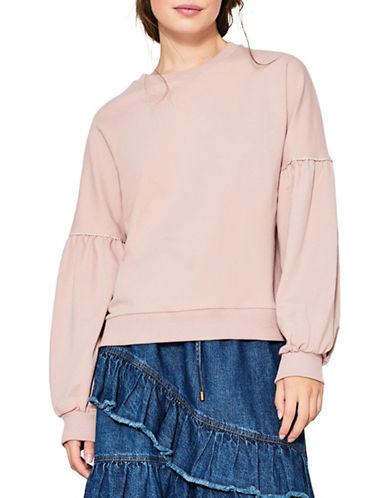 Esprit Balloon-Sleeve Sweatshirt-PINK-Large