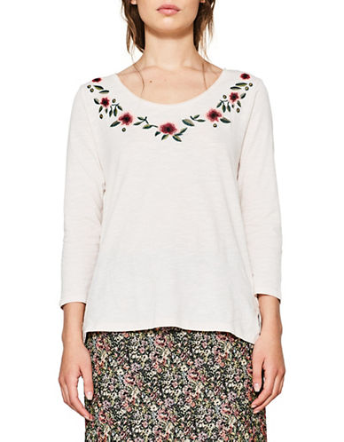 Esprit Floral Cotton Top-NUDE-Small