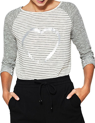Esprit Striped Roundneck Tee-WHITE-Large