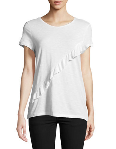 Esprit Ruffle Front Tee-WHITE-X-Large