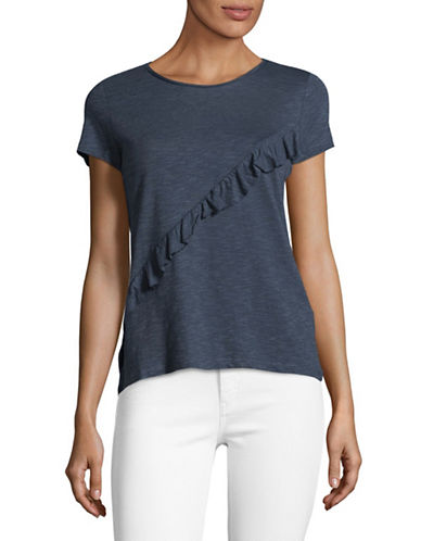 Esprit Ruffle Front Tee-BLUE-Medium