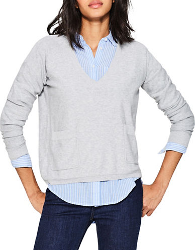 Esprit Boxy Cotton Sweater-SILVER-X-Small