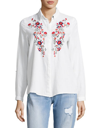 Esprit Cotton Floral Embroidered Blouse-WHITE-X-Large