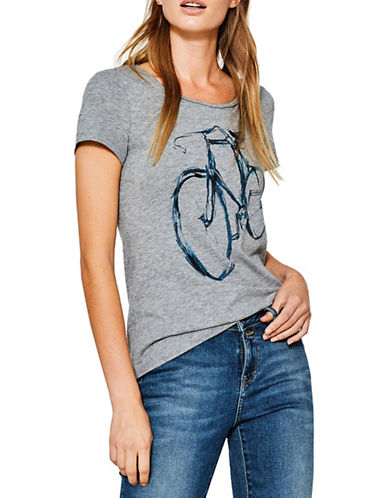 Esprit Bicycle Graphic Tee-GREY-Medium