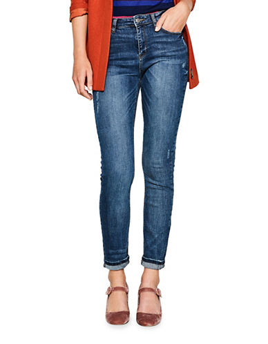 Esprit Distressed High-Waist Jeans-BLUE-25
