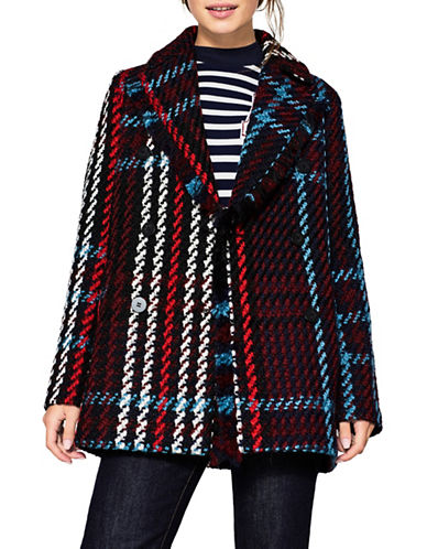 Esprit Plaid Woven Coat-BLUE MULTI-Medium