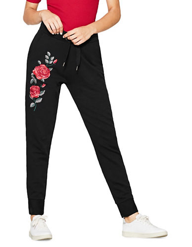 Esprit Rose Embroidered Cotton Joggers-BLACK-Large
