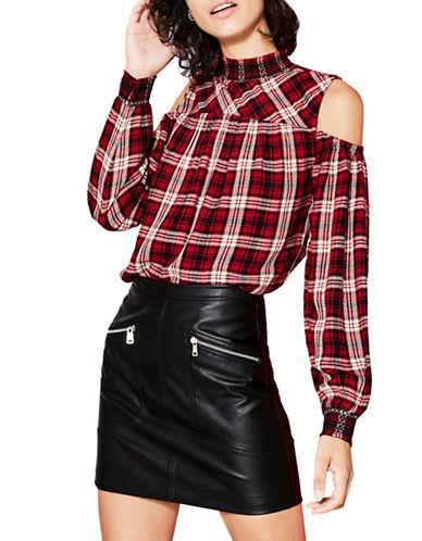 Esprit Plaid Cold-Shoulder Blouse-RED-Medium