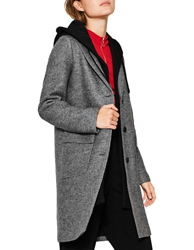 Esprit Wool-Blend Coat-GREY-Medium