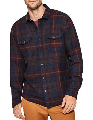 Esprit Plaid Cotton Sport Shirt-DARK BLUE-Medium