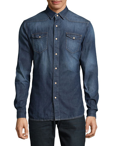 Esprit Faded Denim Sport Shirt-BLUE-X-Large