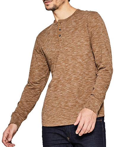 Esprit Long Sleeve Buttoned Henley-BROWN-Small