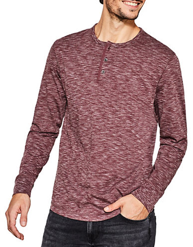 Esprit Long Sleeve Buttoned Henley-RED-Large